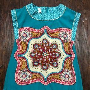 Little girls silky turquoise dress